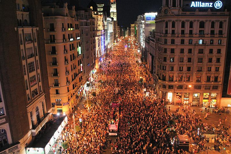 Gay parade on Madrid's Gran Via