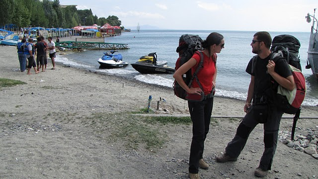 Beached backpackers