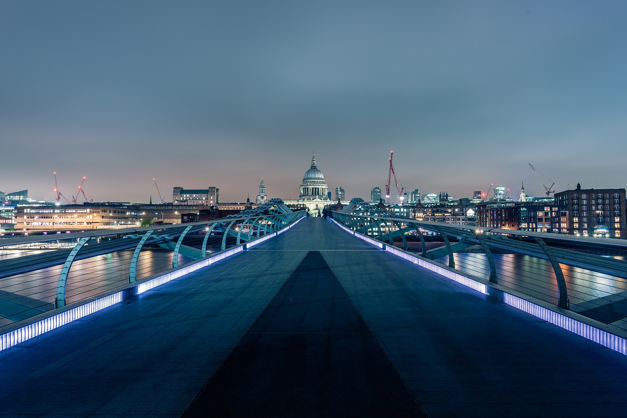 View over the Millennium bridge at dusk