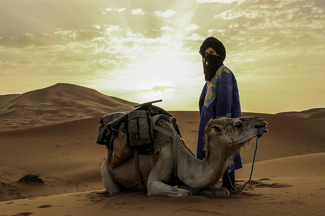 Merzouga Warrior – Tommy Pixel. A local and his camel in the Merzouga desert.