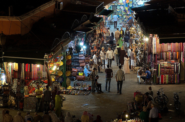 Jemaa el Fna Night Markets – Scott Presly. A glimpse of the night souk market of Jemaa el Fna.
