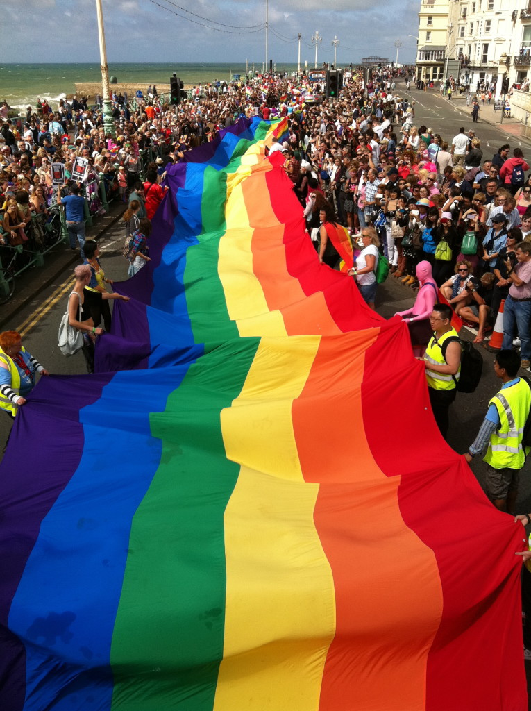 Practice your huge flag shaking at Brighton Pride