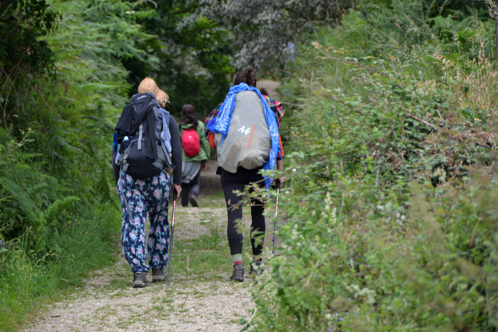 pilgrims hiking on the northern way