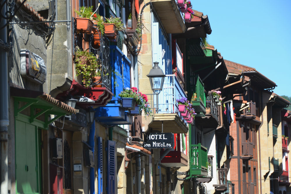 Flower-laden balconies are a theme of the Basque Country