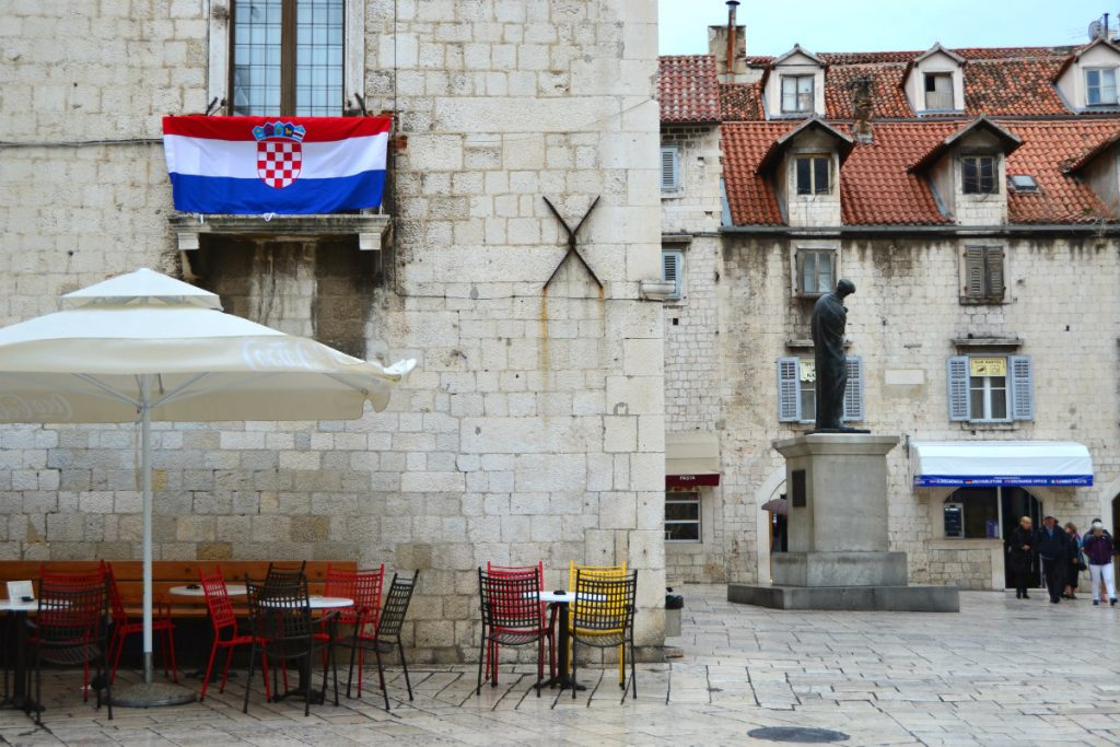 The Croatian flag flying in the Old Town