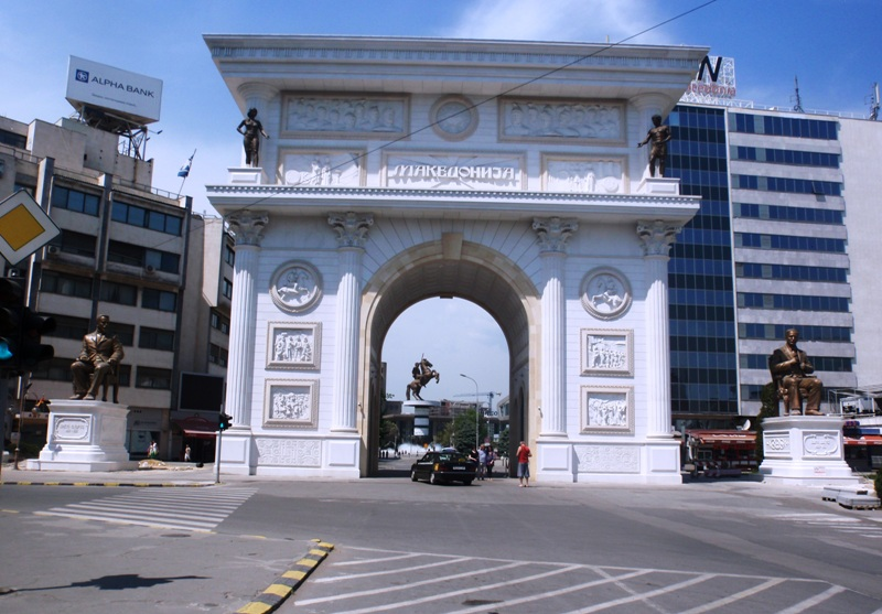 The imposing, triumphal Porta Makedonija leads to a square full of statuary (Photo: Chris Deliso)
