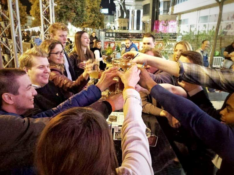 Another round of 'Na Zdravje!' ('cheers') for revelers enjoying the city's vibrant nightlife (Photo: Skopje Bar Crawl)