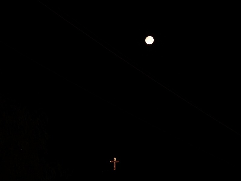 Looming over the city from atop Mt. Vodno, the 66m-high Millennium Cross under the full moon (Photo: Chris Deliso)
