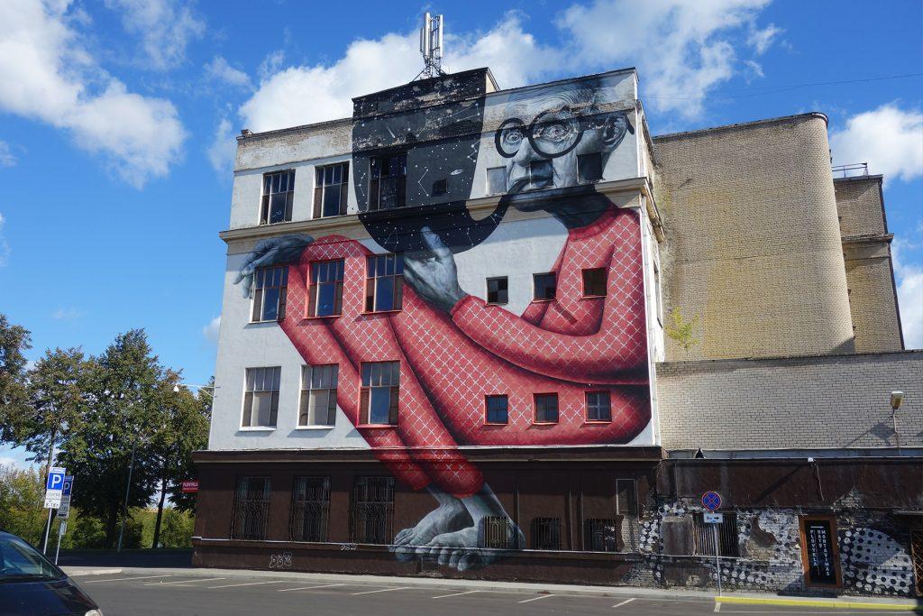 The Wise Old Man Shoe Factory street art Kaunas