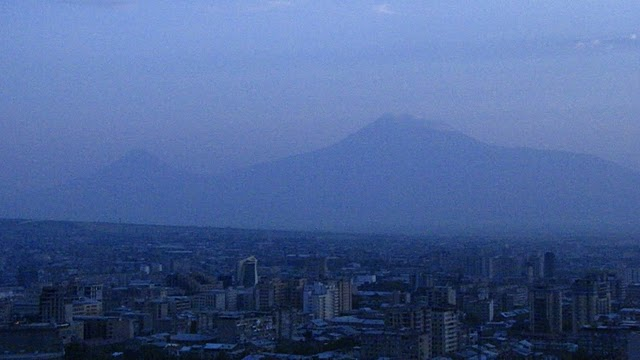 Ararat looms over Yerevan at dusk