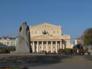 A marble Karl Marx overlooks the Bolshoi Theatre