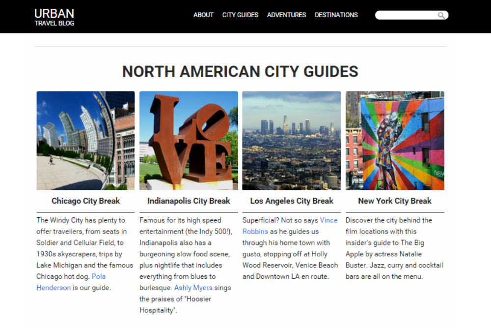 Screenshot of our new City Guides page.