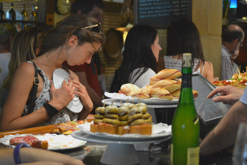 eating pintxos in the basque country