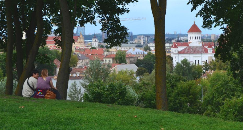 A happy couple contemplate Vilnius