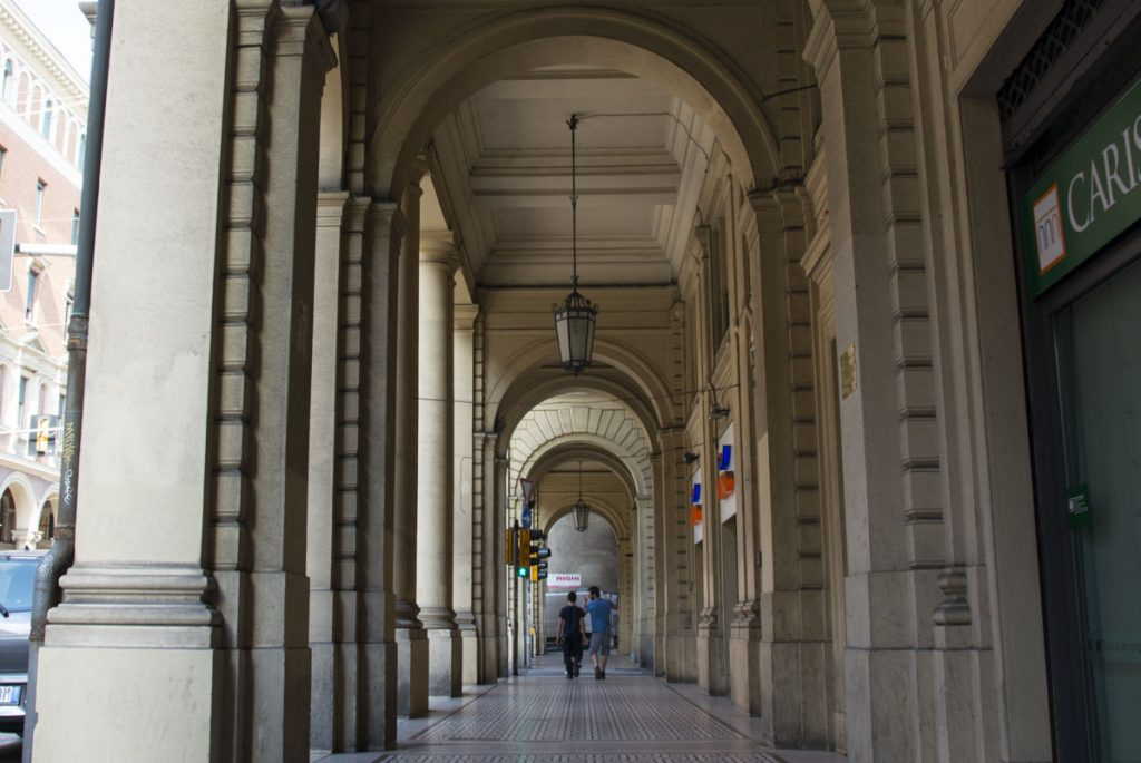 Never worry about a rainy day. The arcades of Bologna...