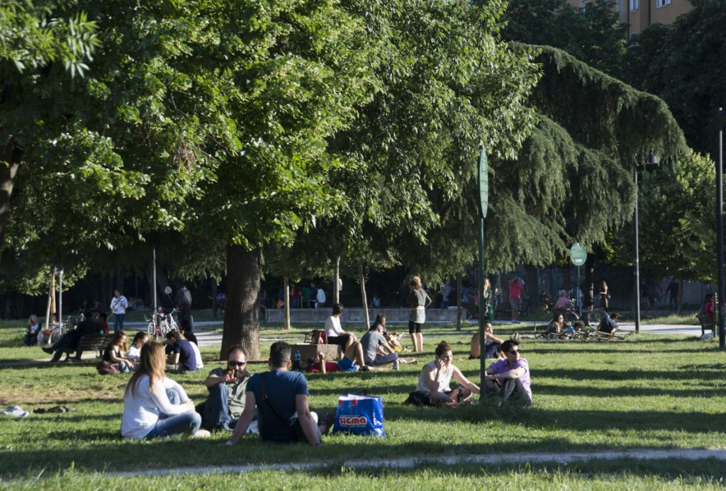 Locals in a laid back vibe at September 11 Park.