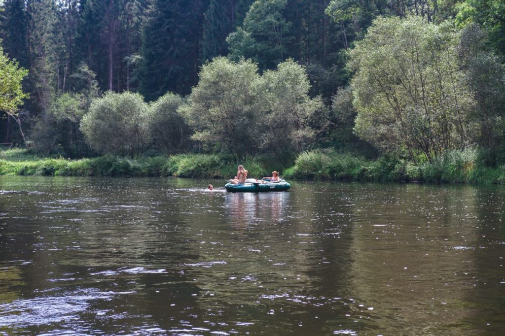 Stopping off for a swim on the Vltava