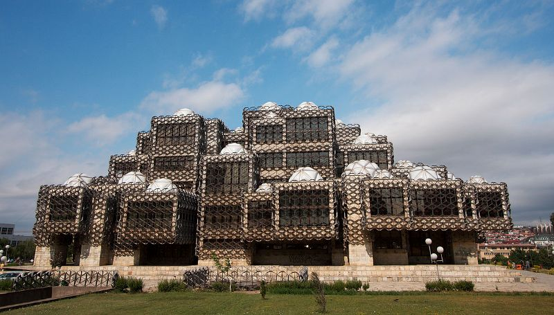 The inscrutable National Library, a testament to late-Yugoslav architecture