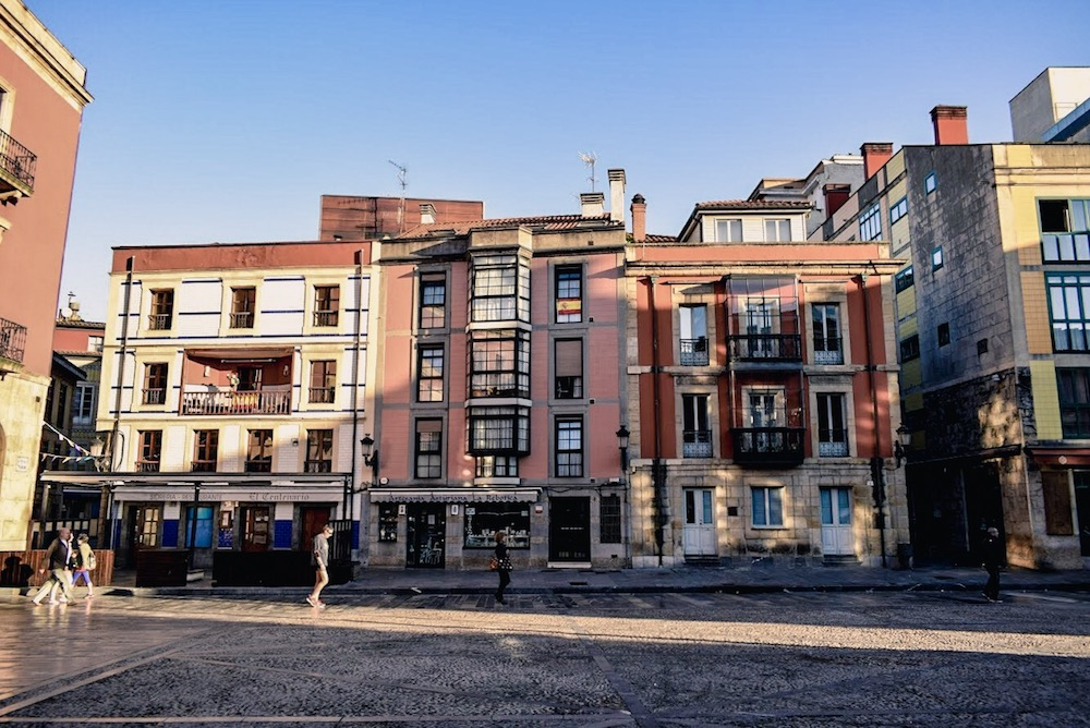 Pastel hues in Gijón's Plaza Mayor